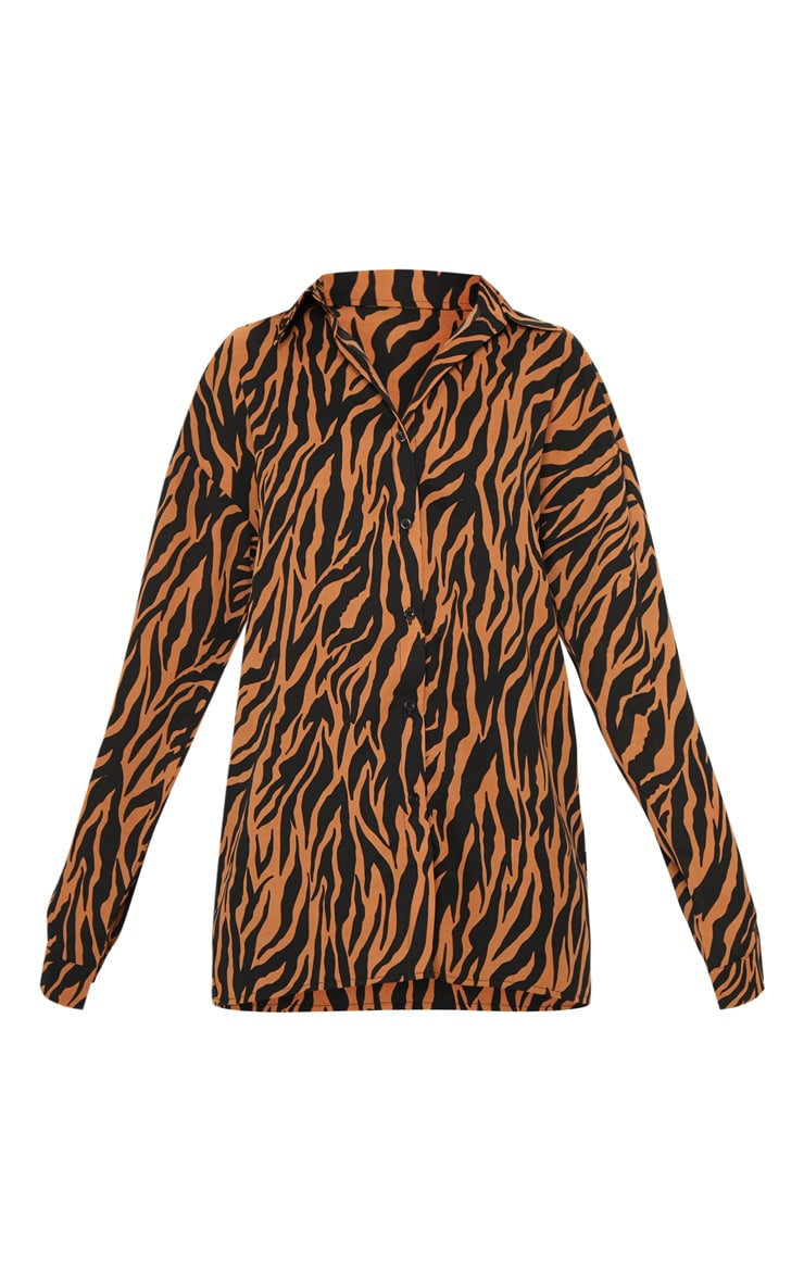 Veste à imprimé tigre orange oversize 3