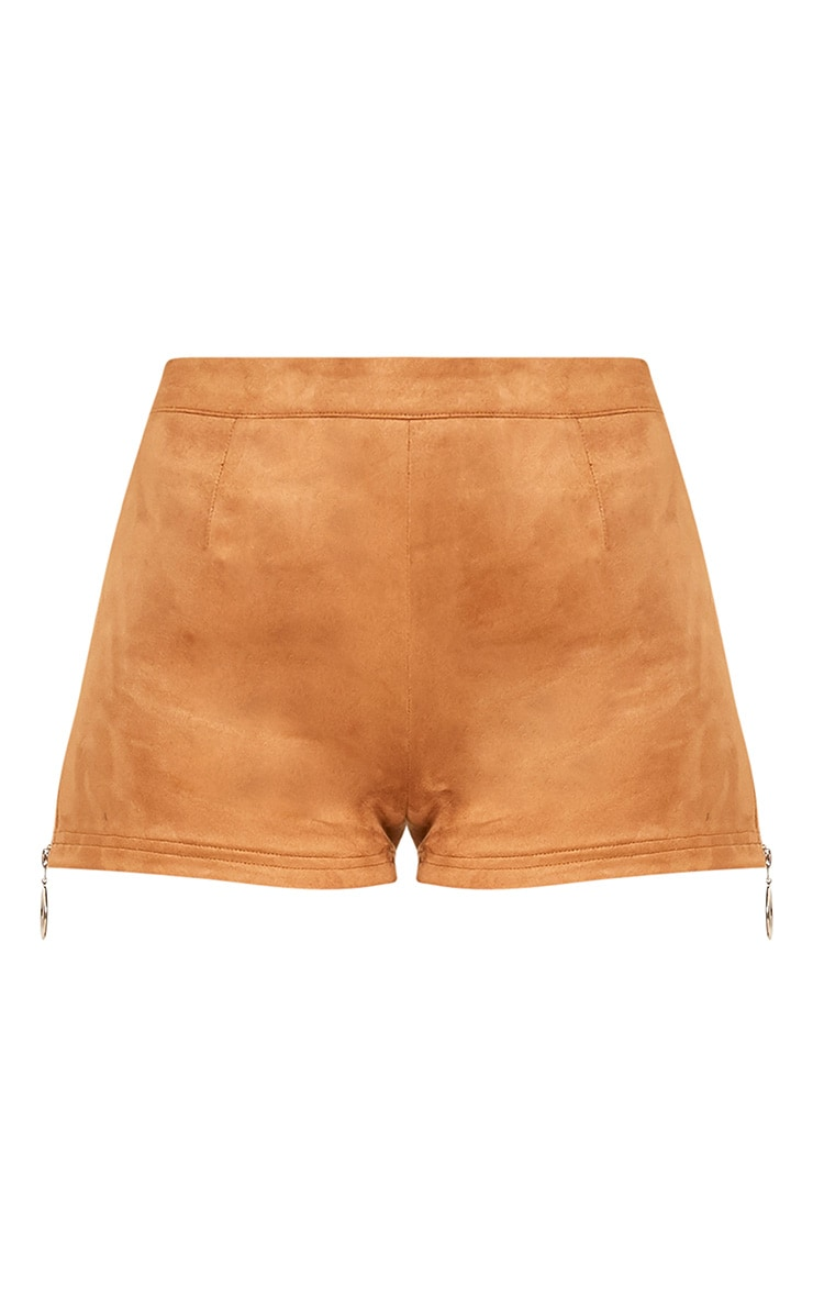 Camel Faux Suede Ring Zip Shorts 4