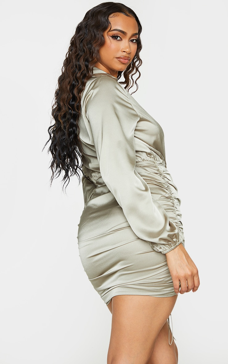 Sage Green Satin Plunge Ruched Shirt Style Bodycon Dress 2