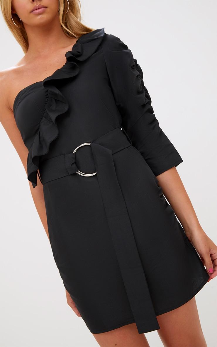 Black One Shoulder Frill Detail O Ring Bodycon Dress 5