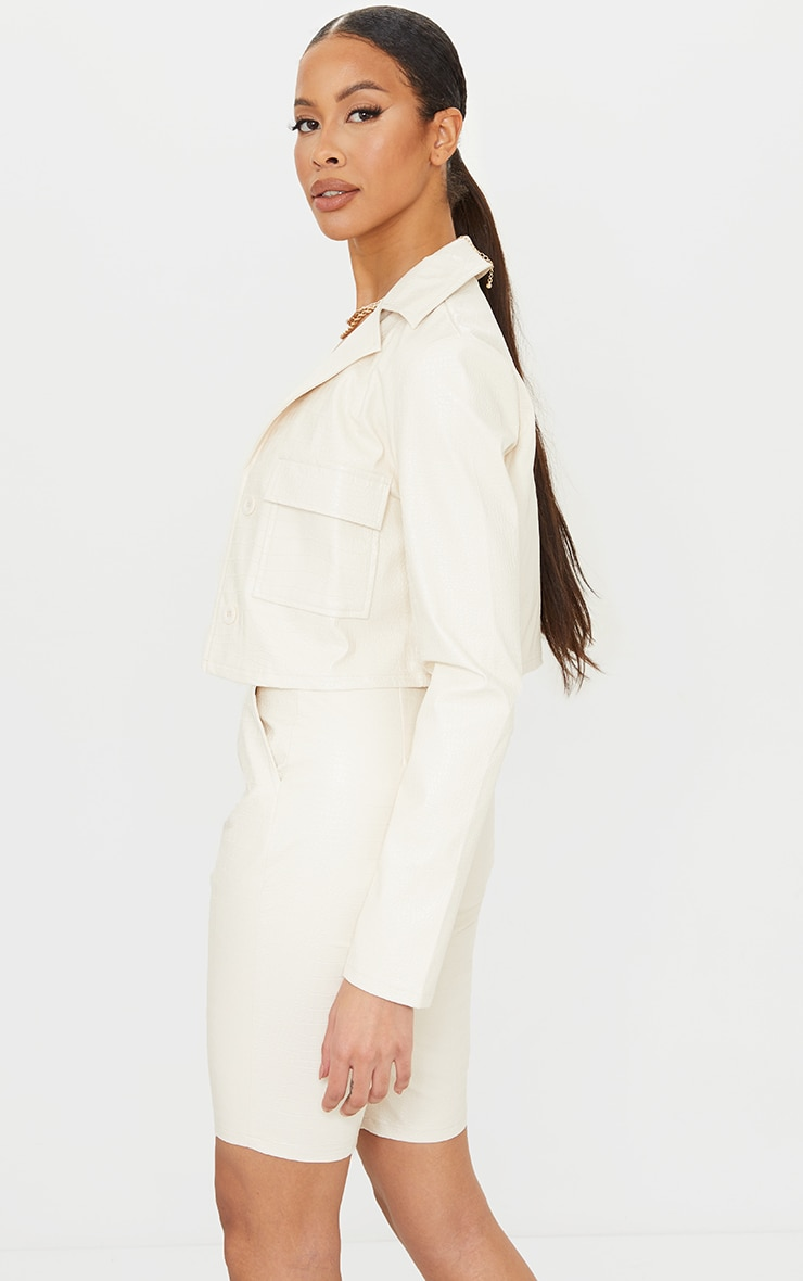 Tall Cream Mock Croc Cropped Trucker Jacket 2