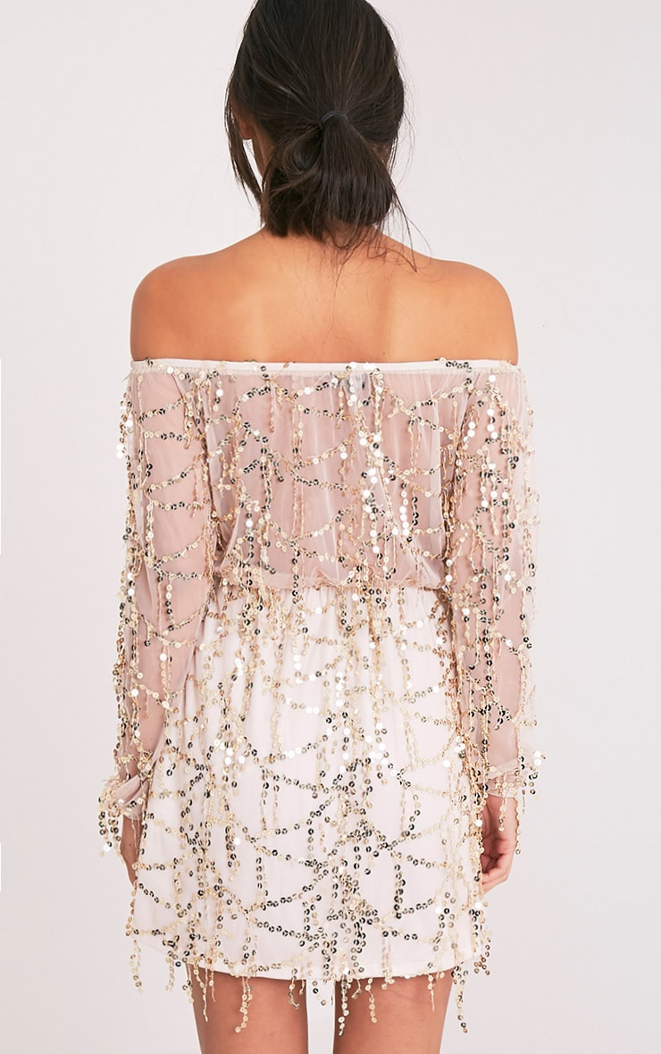 Suki Nude Sequin Detail Bardot Dress 2