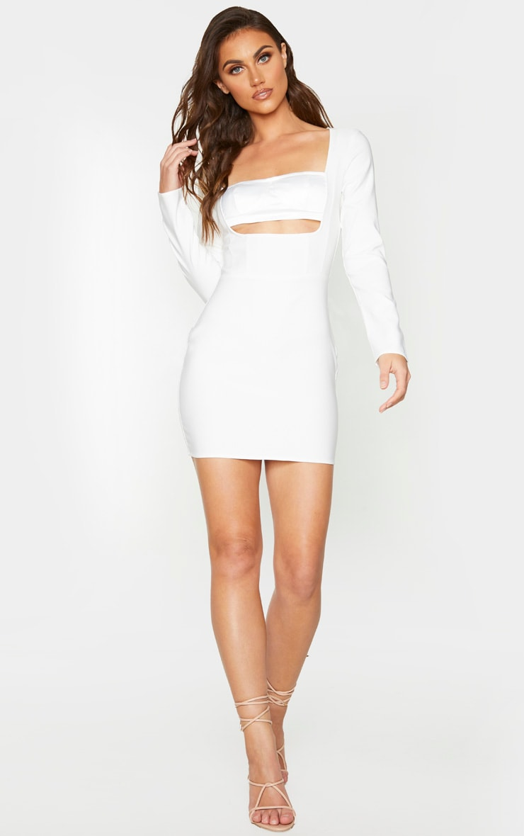White Long Sleeve Bust Panel Detail Bodycon Dress 3
