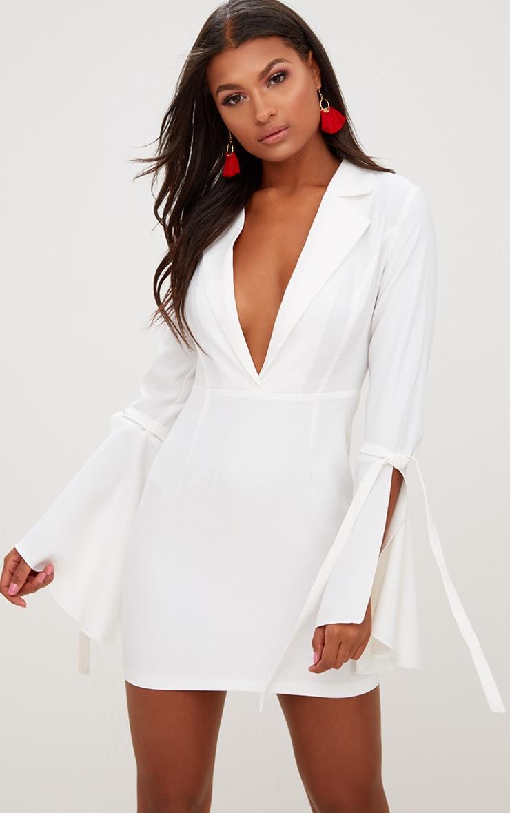 White Tie Sleeve Blazer Dress 1