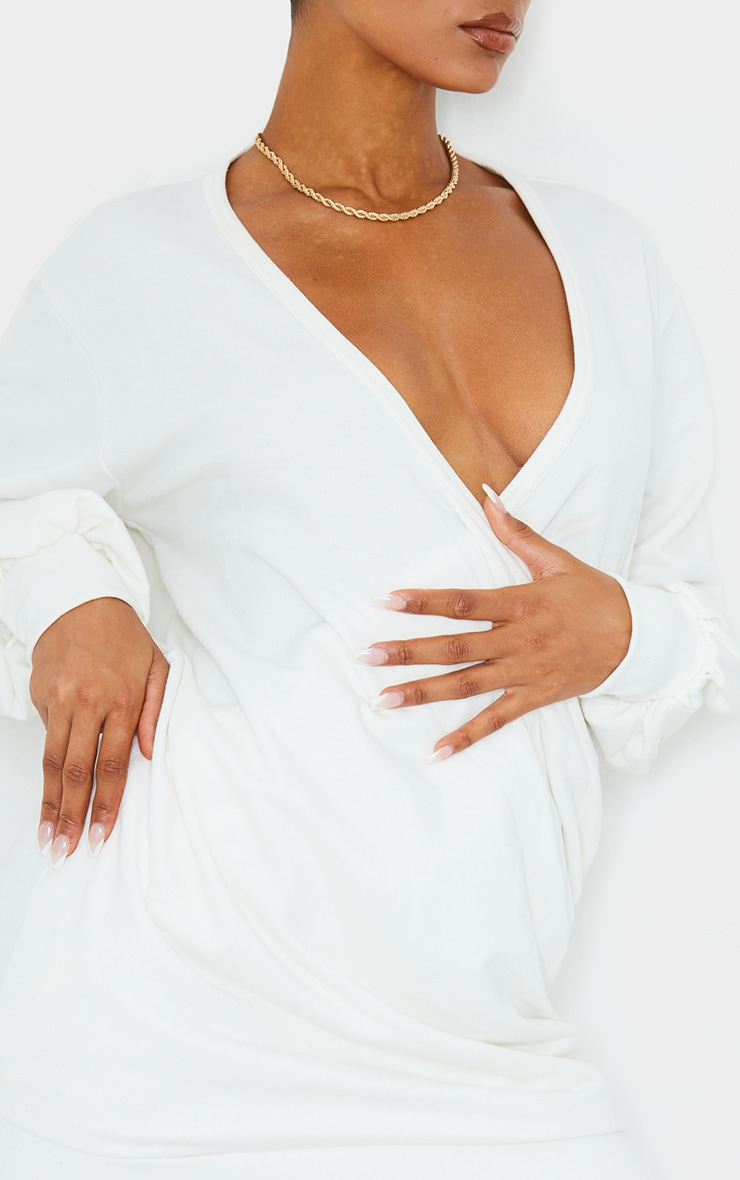 Cream Extreme Plunge Long Sleeve Wrap Ruched Sweater Dress 4