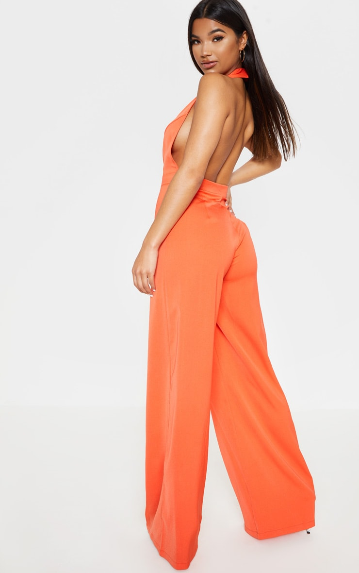 Bright Orange Halterneck Lapel Detail Jumpsuit 2