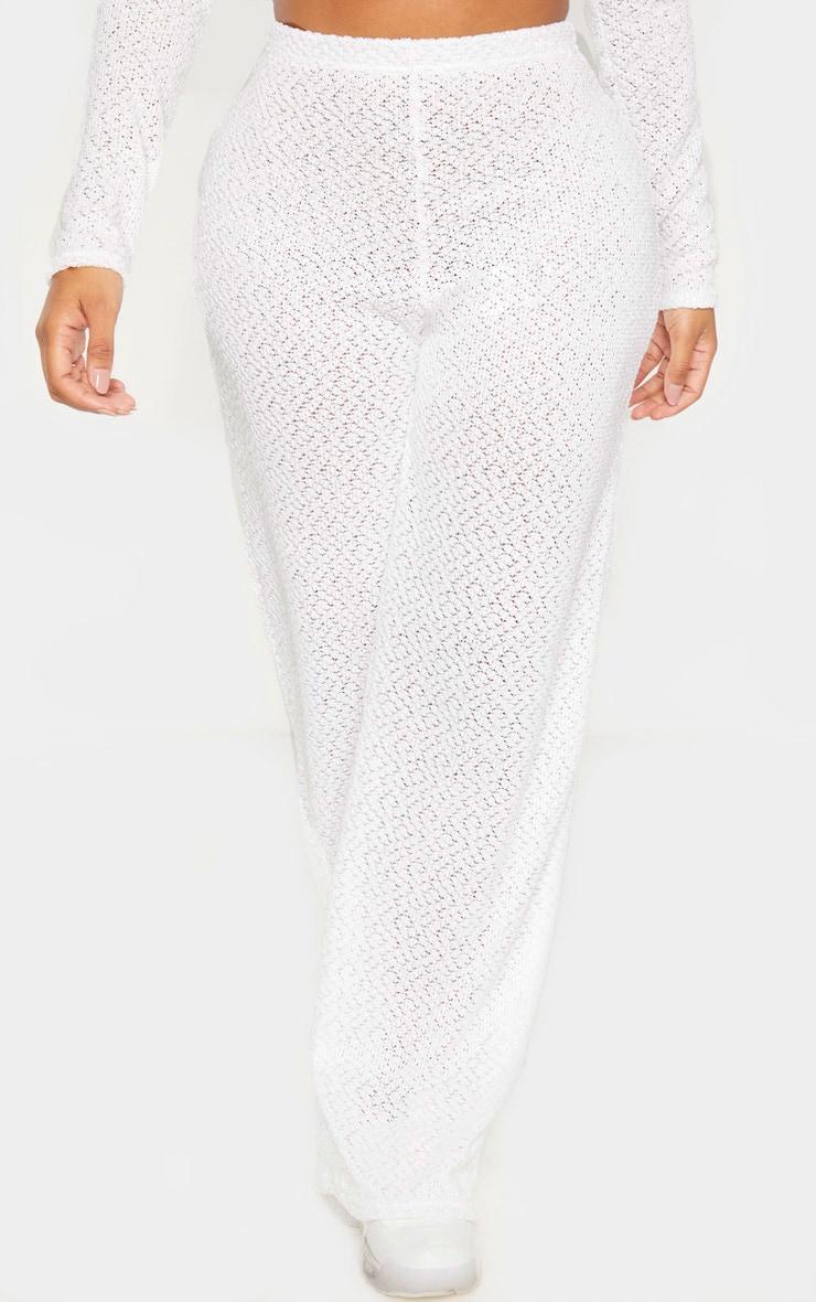 Shape Cream Textured Rib Wide Leg Pants 2