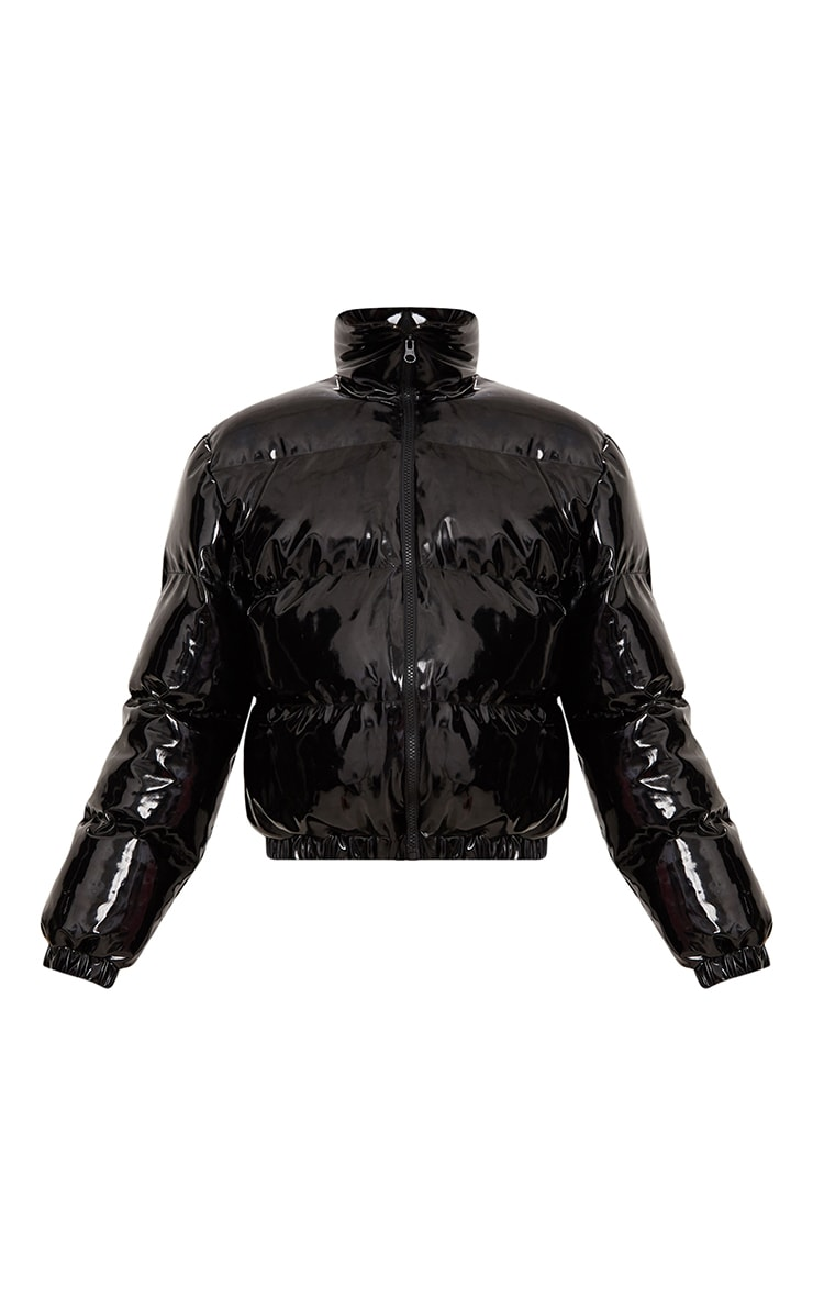Black Cropped Vinyl Puffer Jacket 3