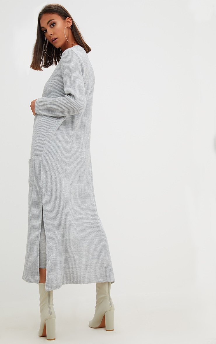 Grey Pocket Front Maxi Cardigan 2