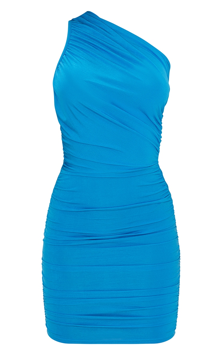 Blue Slinky Ruched One Shoulder Bodycon Dress 5