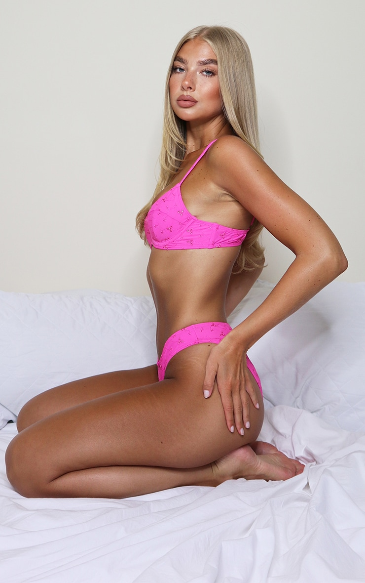 Hot Pink Broderie Underwired Bikini Top 3