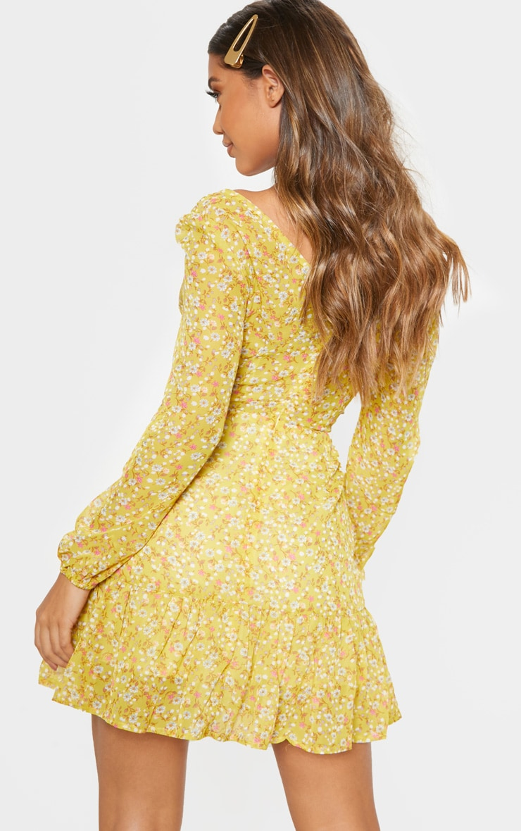 Lemon Floral Print Chiffon Cut Out Skater Dress 2