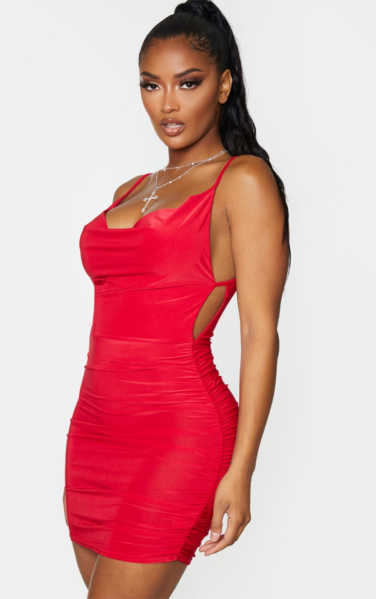Shape Red Cowl Ruched Side Bodycon Dress 1