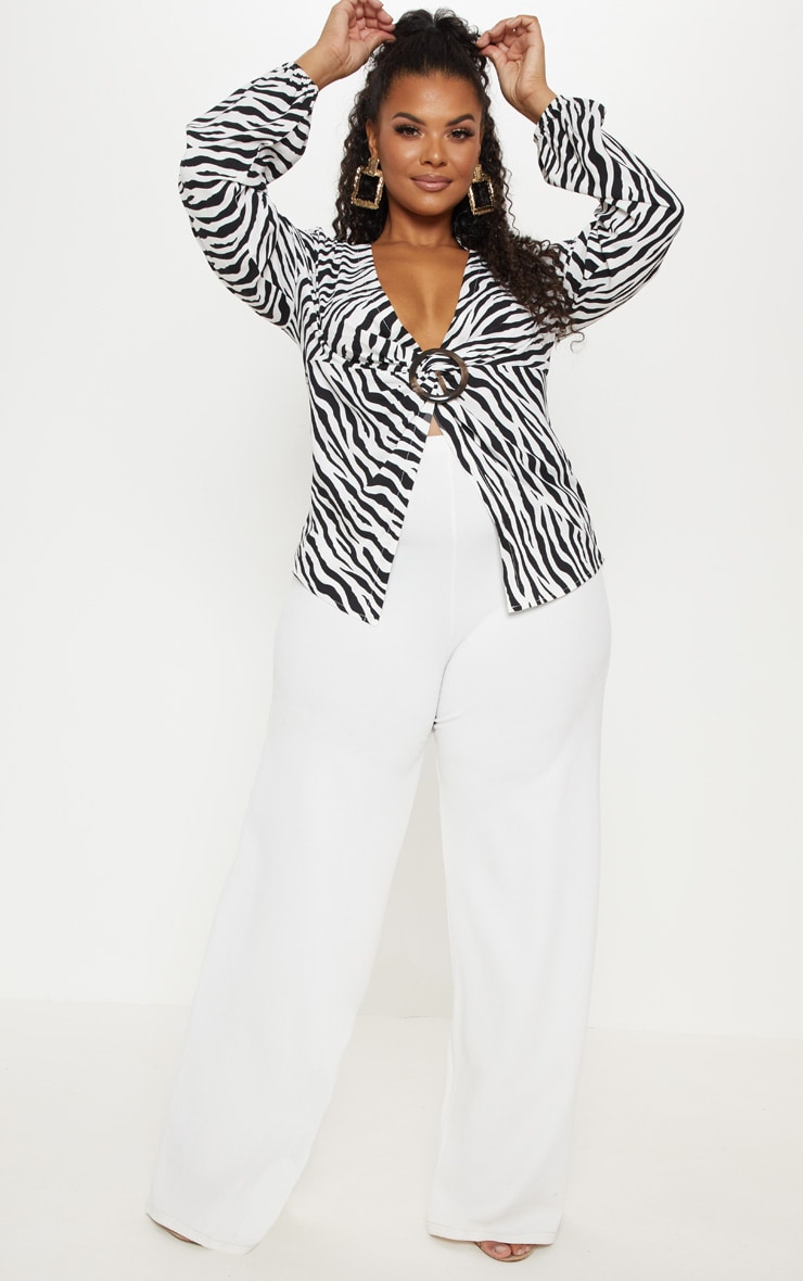 Plus Monochrome Zebra Print Ring Detail Twist Blouse  4