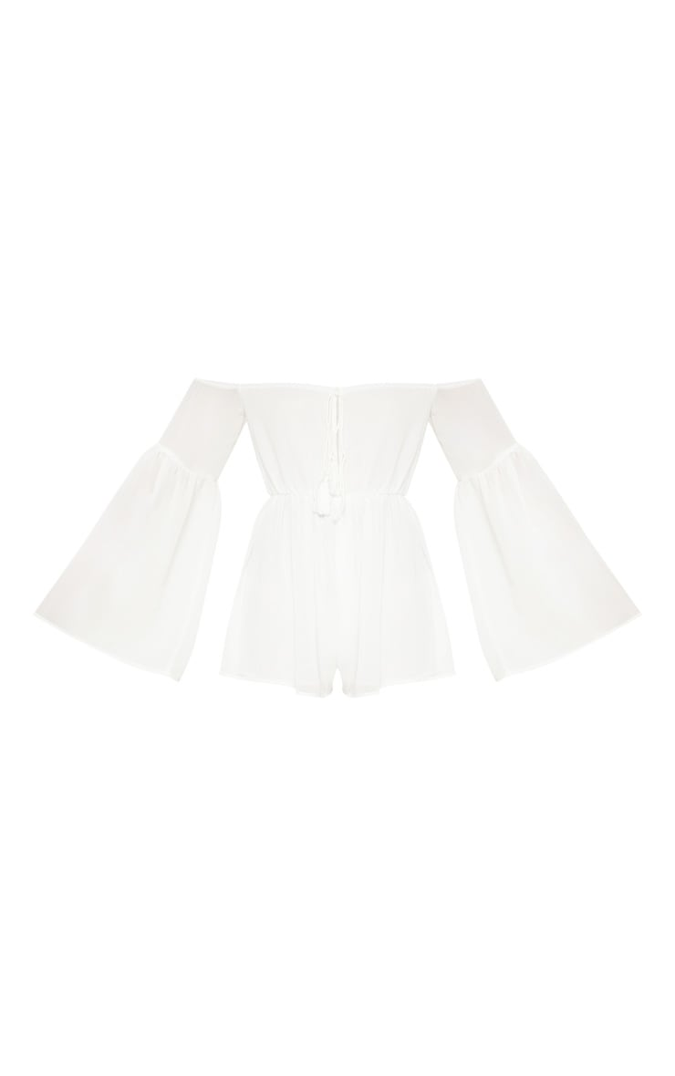 White Chiffon Flared Sleeve Playsuit 4