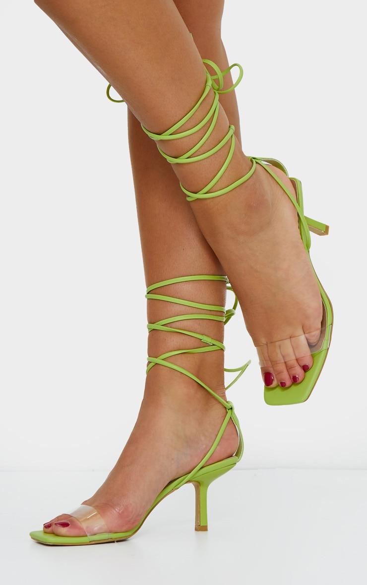 Green Low Heel Clear Strap Ankle Tie Sandal 1