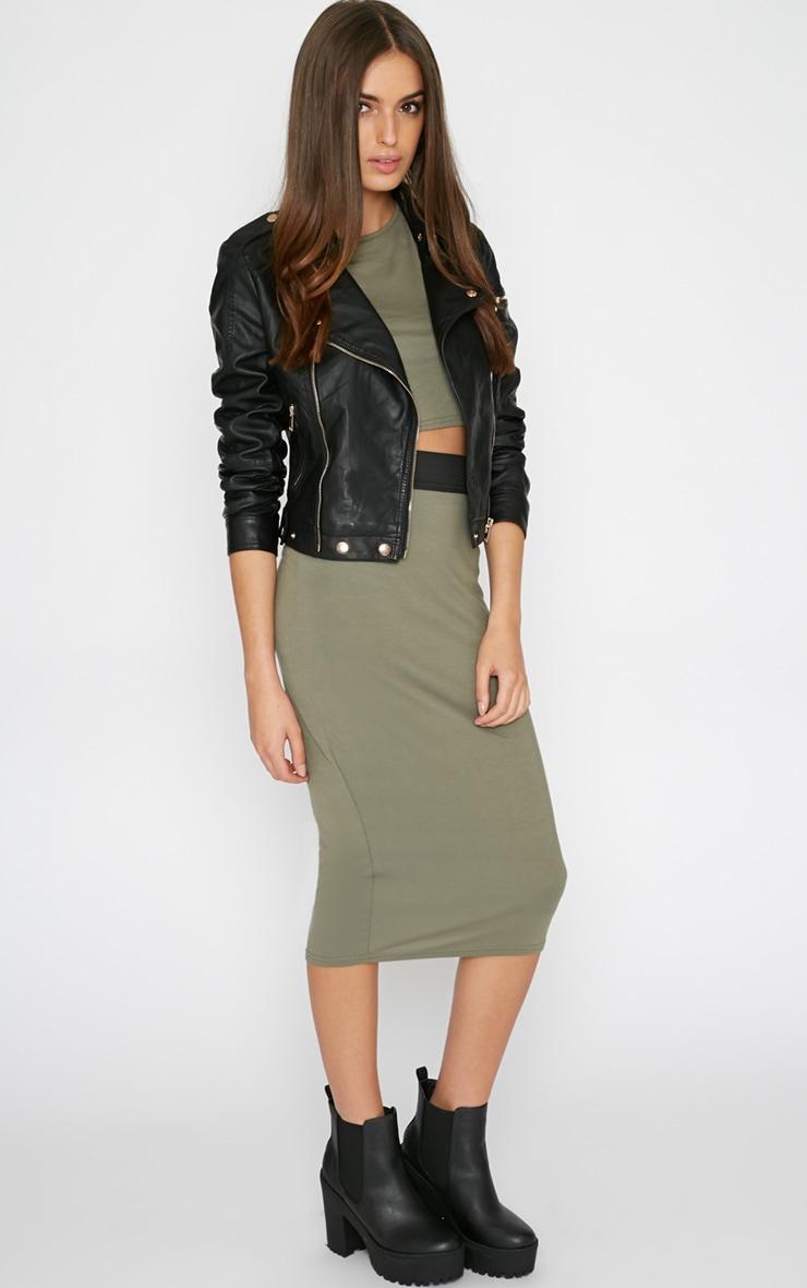 Tamika Khaki Jersey Midi Skirt  4