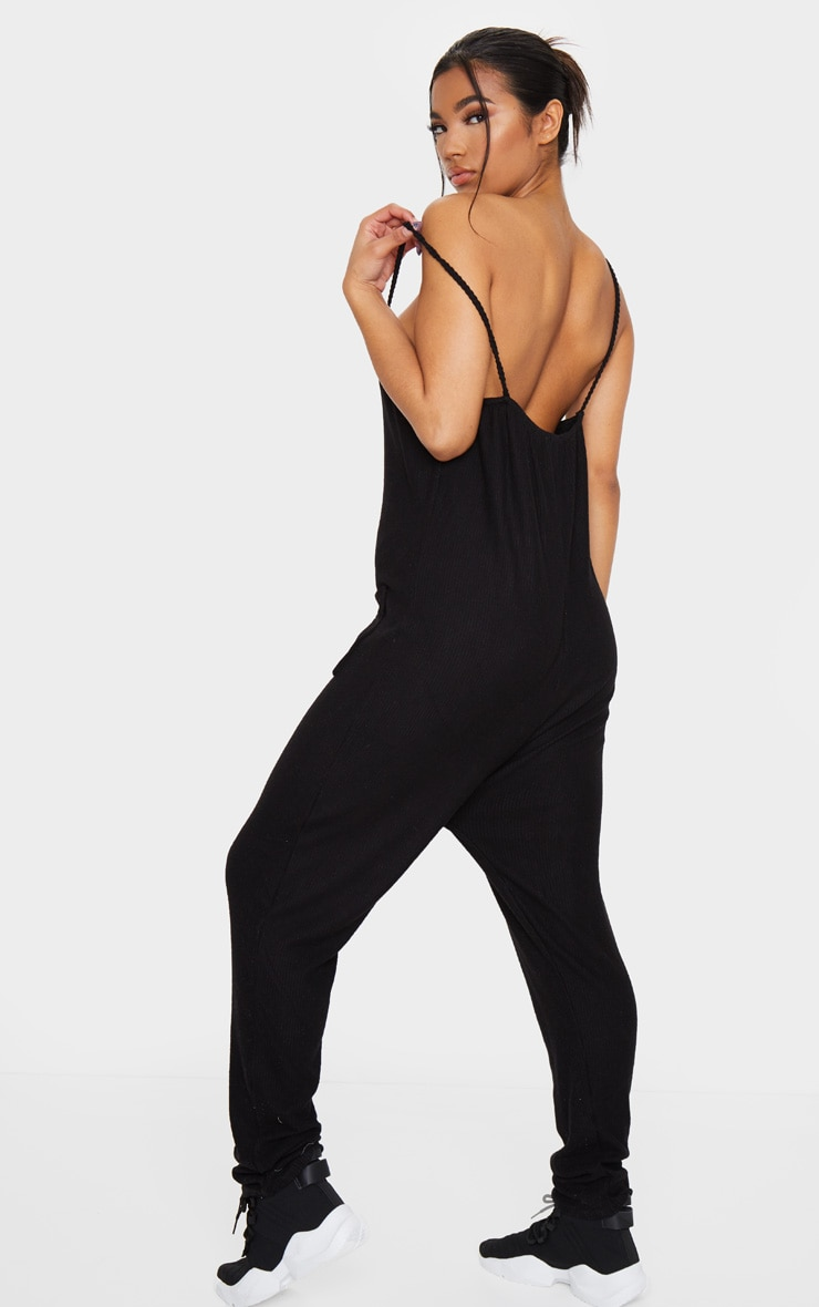 Black Brushed Rib Strappy Pocket Jumpsuit 2