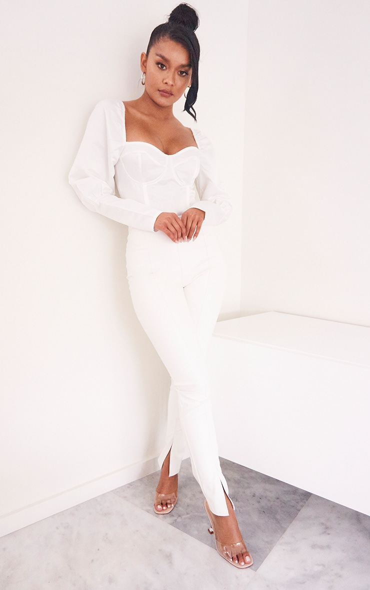 White Satin Structured Bodice Puff Sleeve Bodysuit 3