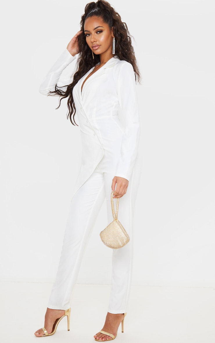 White Button Detail Asymmetric Blazer Jumpsuit 4