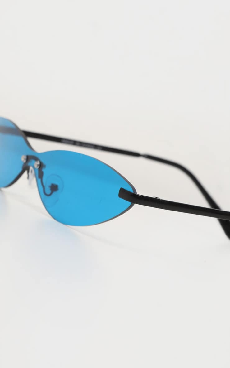 Neon Blue Tinted Frameless Slim Cat Eye Sunglasses 5