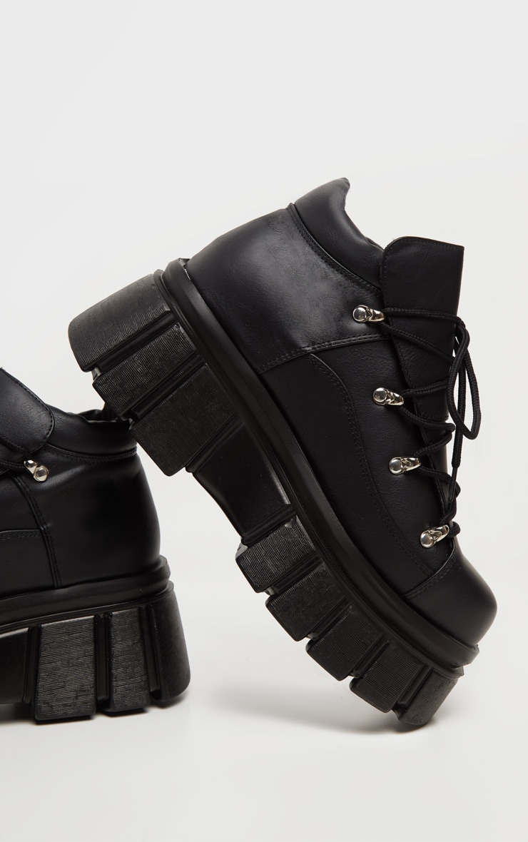 Black Extreme Flatform Chunky Sole Ankle Boot 3