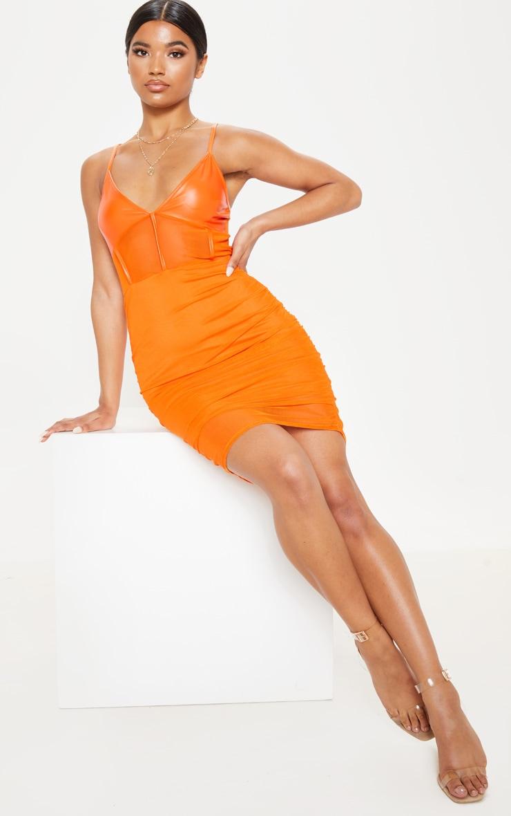 Orange PU Insert Mesh Ruched Bodycon Dress 1