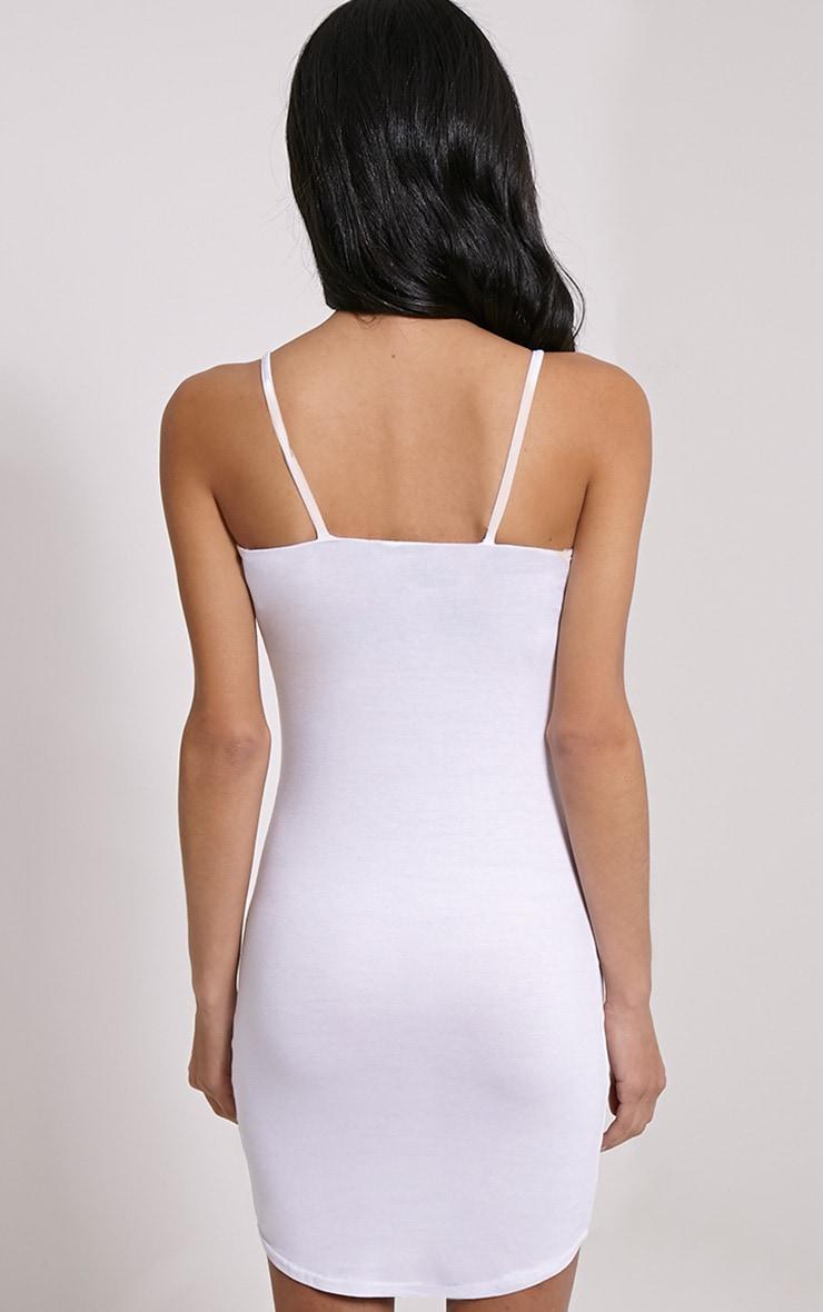 Basic White Jersey Strappy Mini Dress 2
