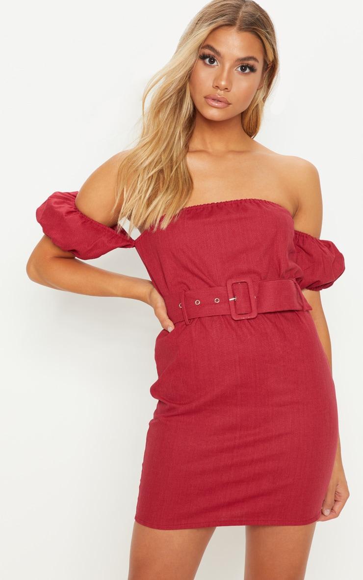 Deep Burgundy Belt Detail Bardot Shift Dress 1