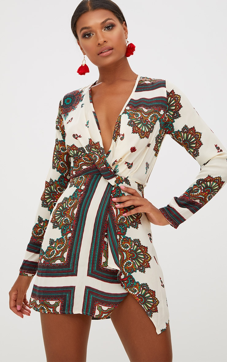 White Printed Silky Long Sleeve Wrap Dress 1
