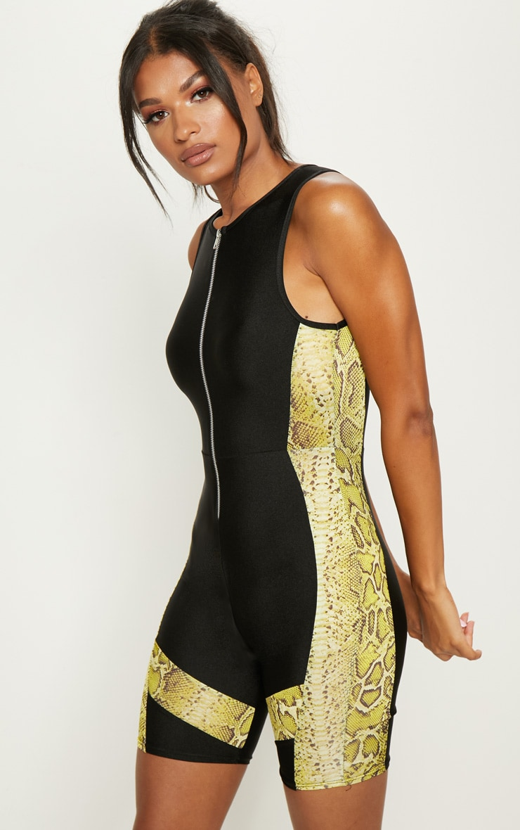 Black Contrast Lime Snake Unitard 1