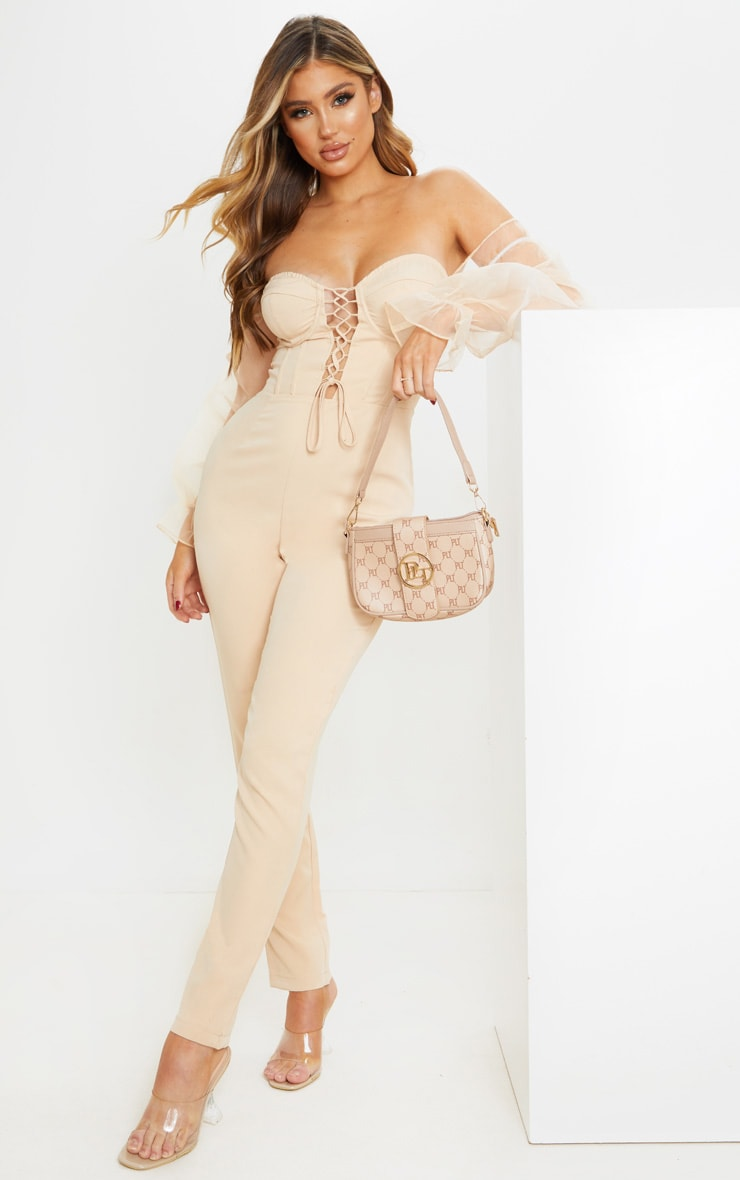 Nude Lace Up Organza Puff Sleeve Bardot Jumpsuit 1