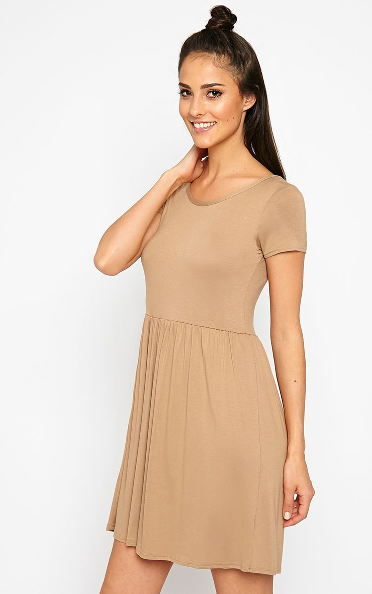Basic Camel Skater Dress 4