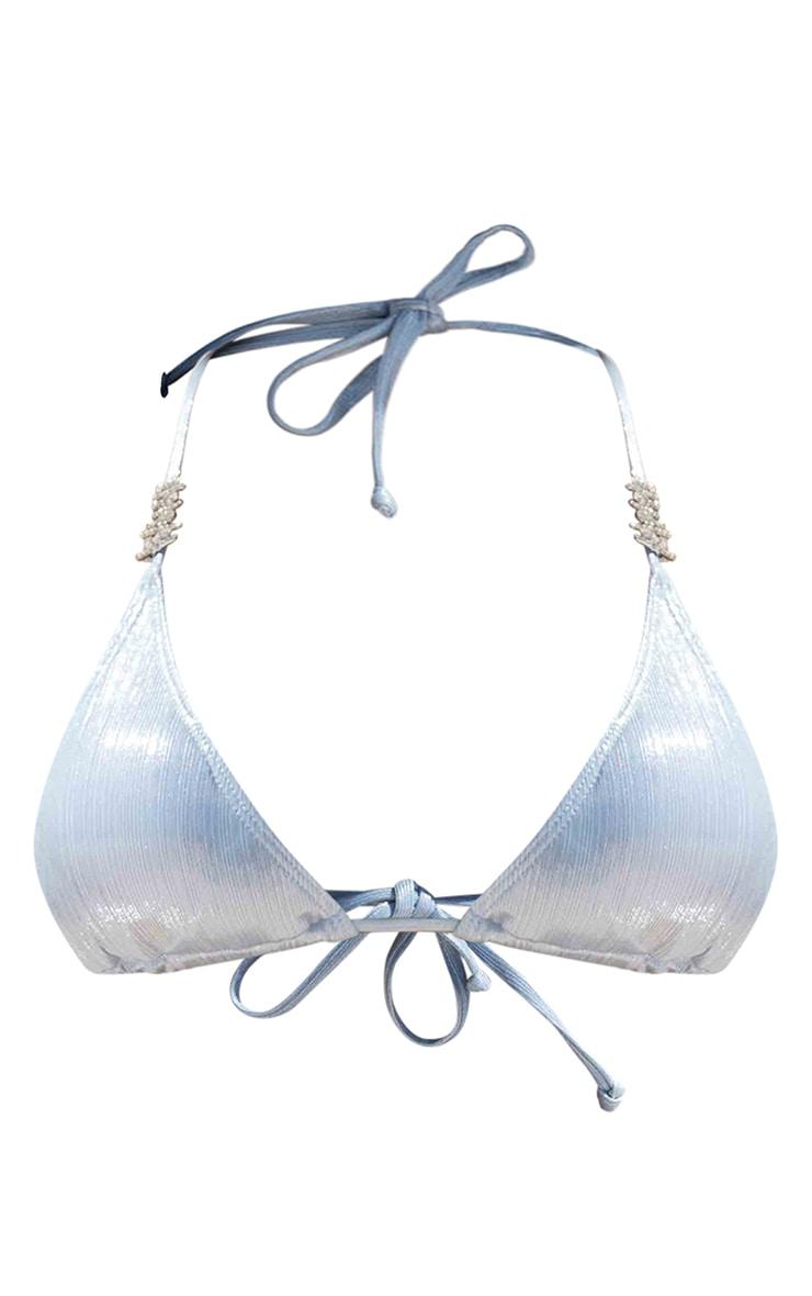 Baby Blue Shiny Textured Diamante Triangle Bikini Top 6