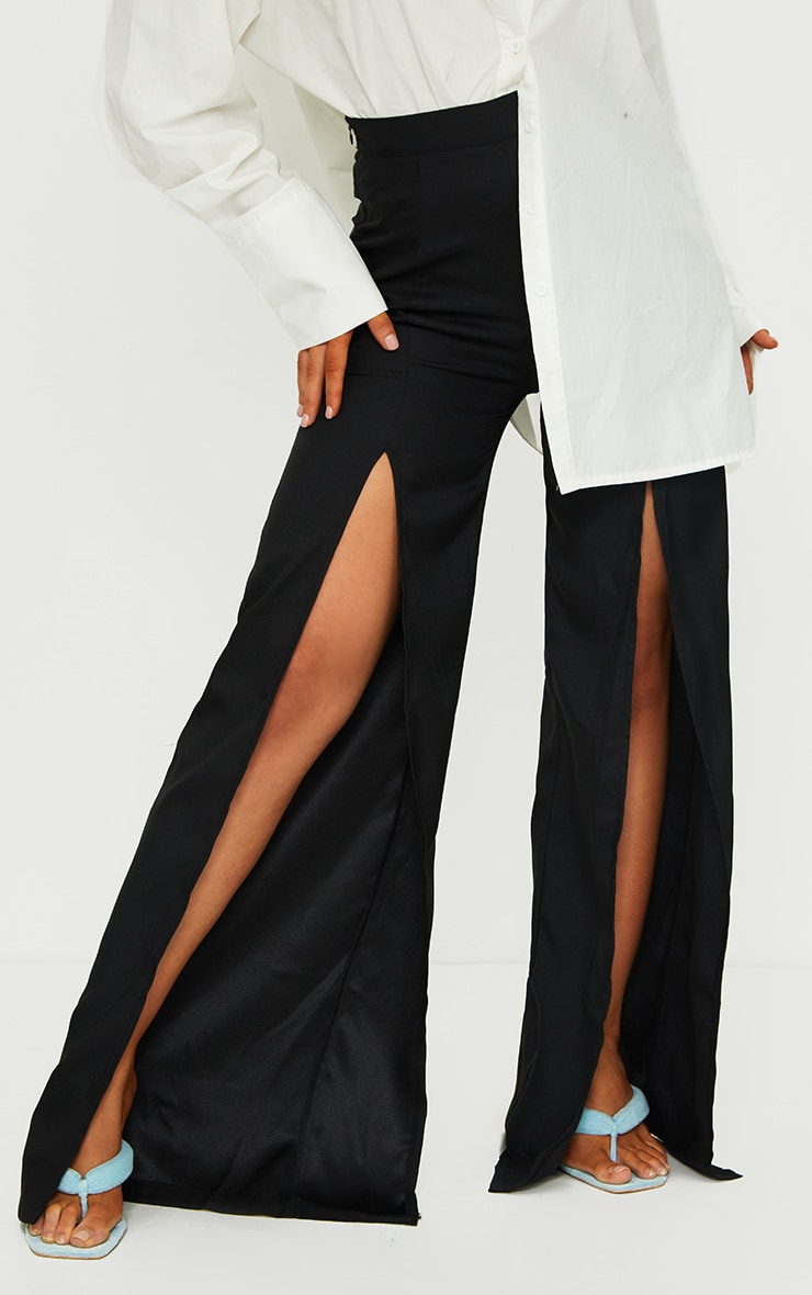 Black Split Leg Woven Wide Leg Pants 2
