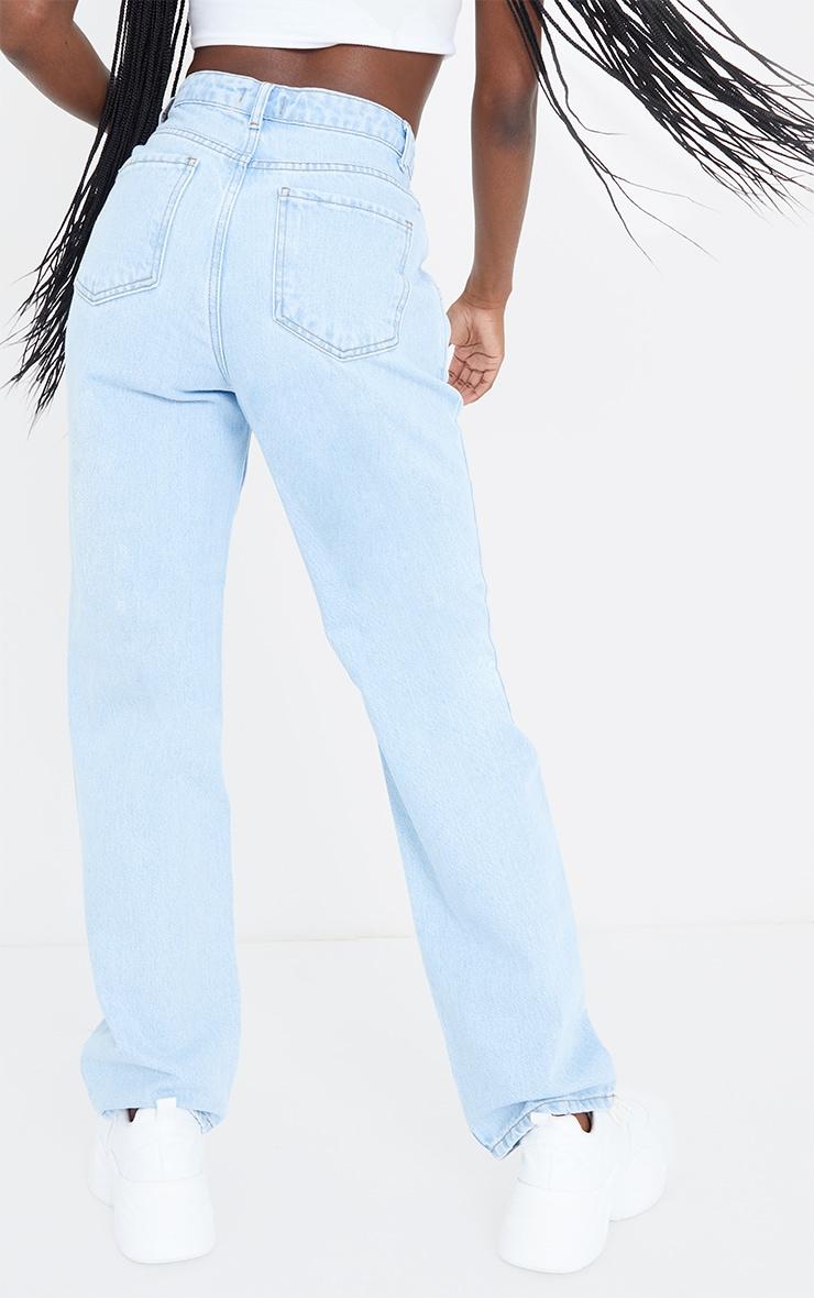 Tall Light Wash Seam Detail Wide Leg Jeans 3