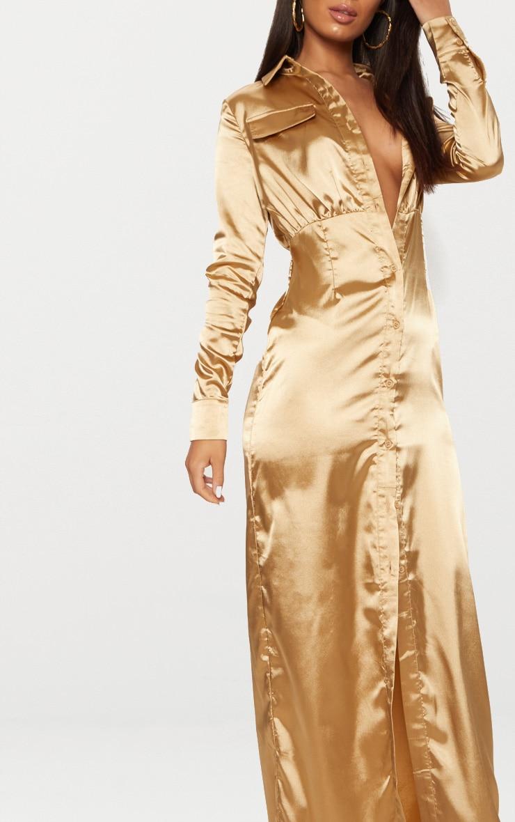 Camel Satin Utility Maxi Dress 5