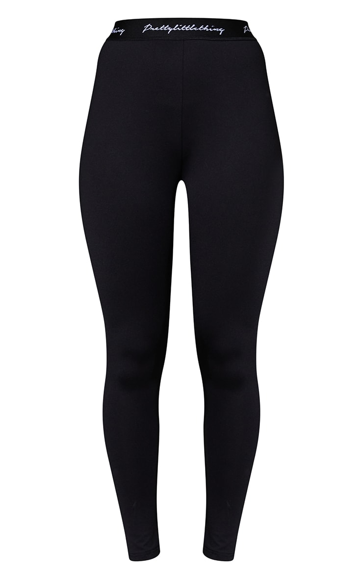 PRETTYLITTLETHING Black Elasticated Band Leggings 5