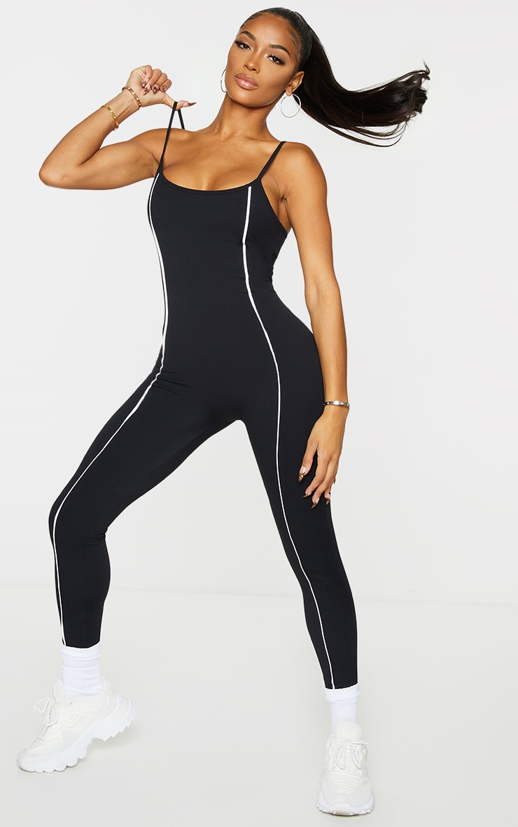 Shape Black Binding Detail Scoop Neck Sports Jumpsuit 1