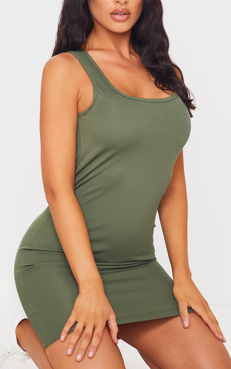 Khaki Square Neck Ribbed Bodycon Dress 4