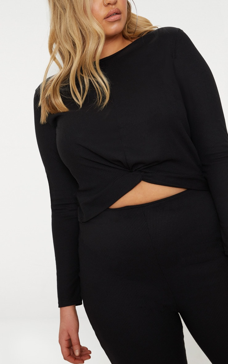 Plus Black Ribbed Knot Front Crop Top 5