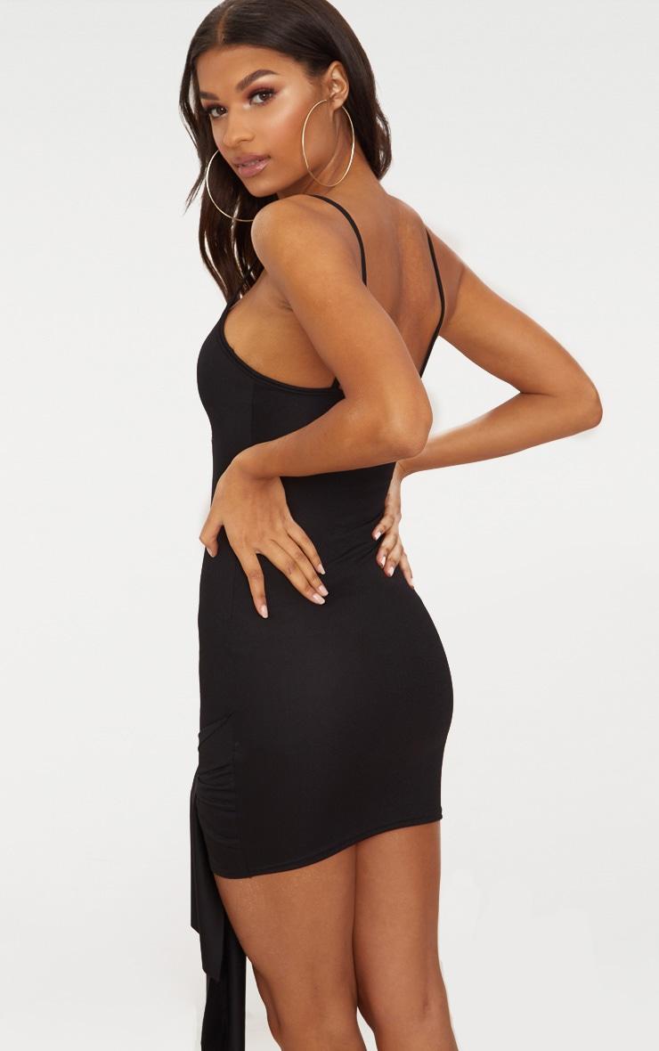 Black  Strappy Tie Hem Bodycon Dress 2