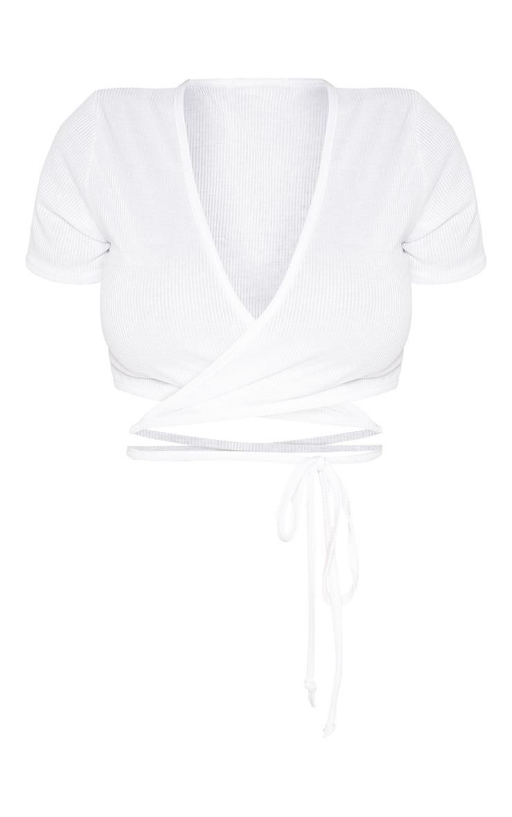 Shape - Crop top côtelé blanc à manches courtes et détail taille nouée 3
