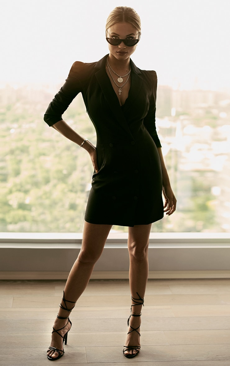 Black Puff Sleeve Button Up Blazer Dress 2