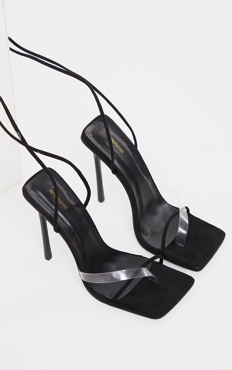 Black Faux Suede Square Toe Clear Strap Heeled Sandals 3
