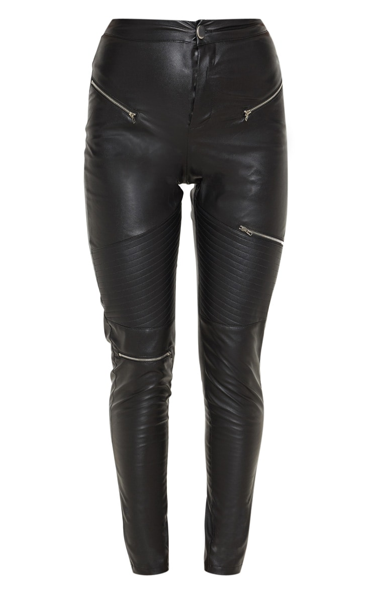 Black Faux Leather Biker Skinny Pants  3