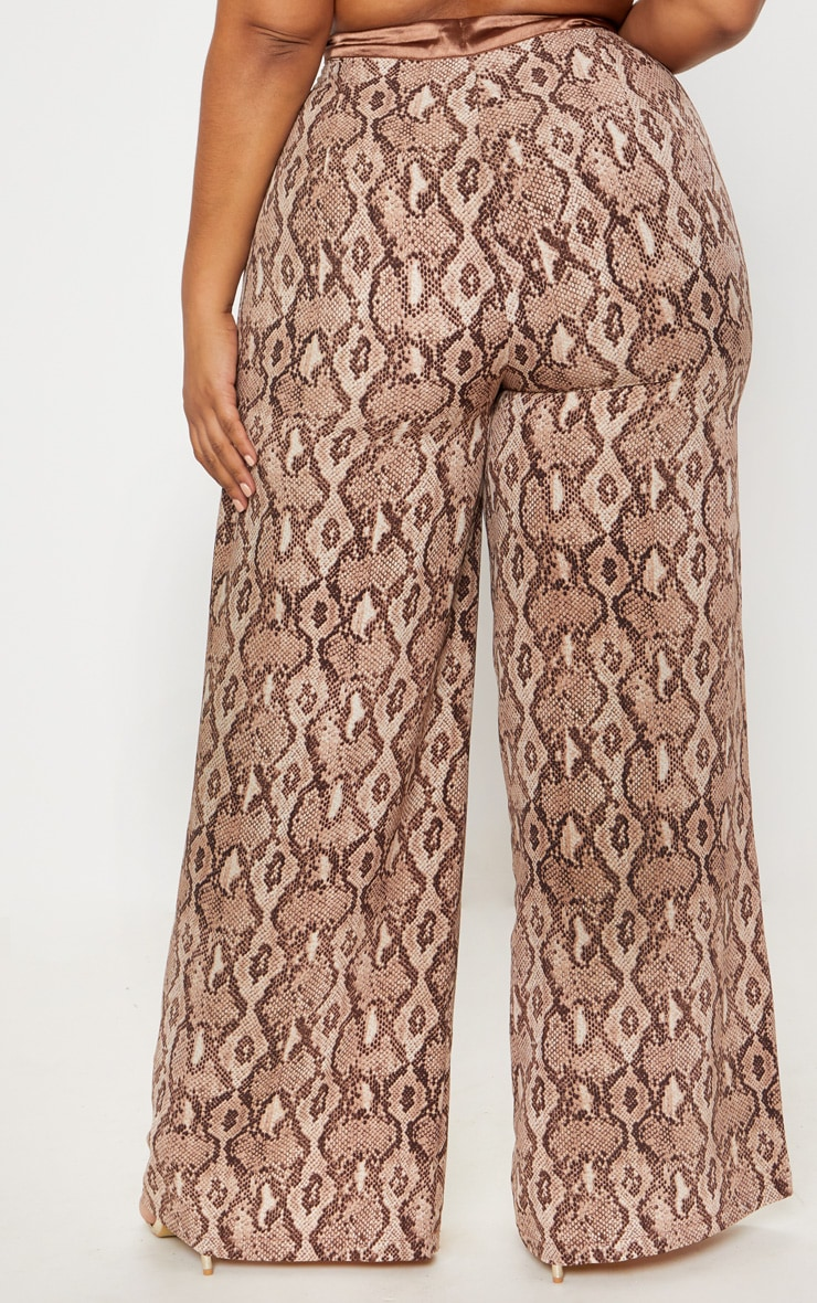 Plus Taupe Snake Print Wide Leg Pants 4