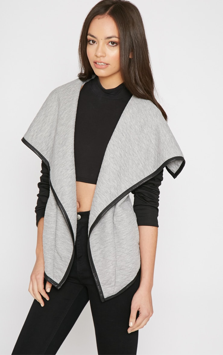 Livvy Grey Quilted Waterfall Jacket 1