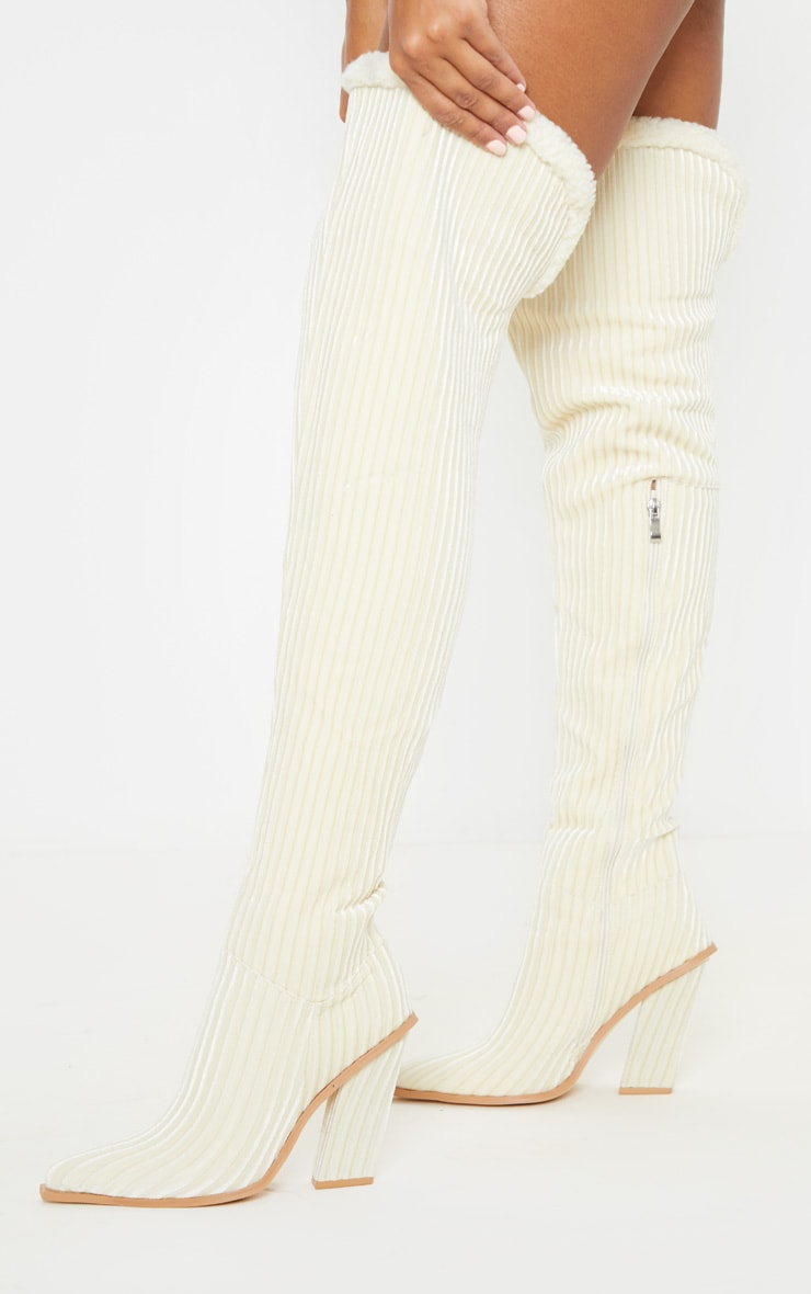 Cream Cord Borg Cuff Thigh High Boot 2