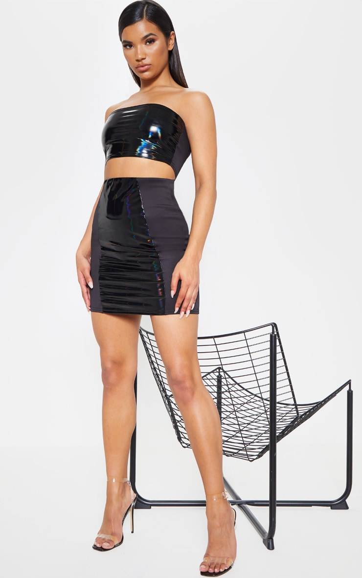 Black Hologram Contrast Panel Mini Skirt 5